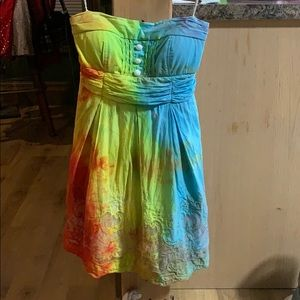 Beautiful Strapless Tye-Dye Dress